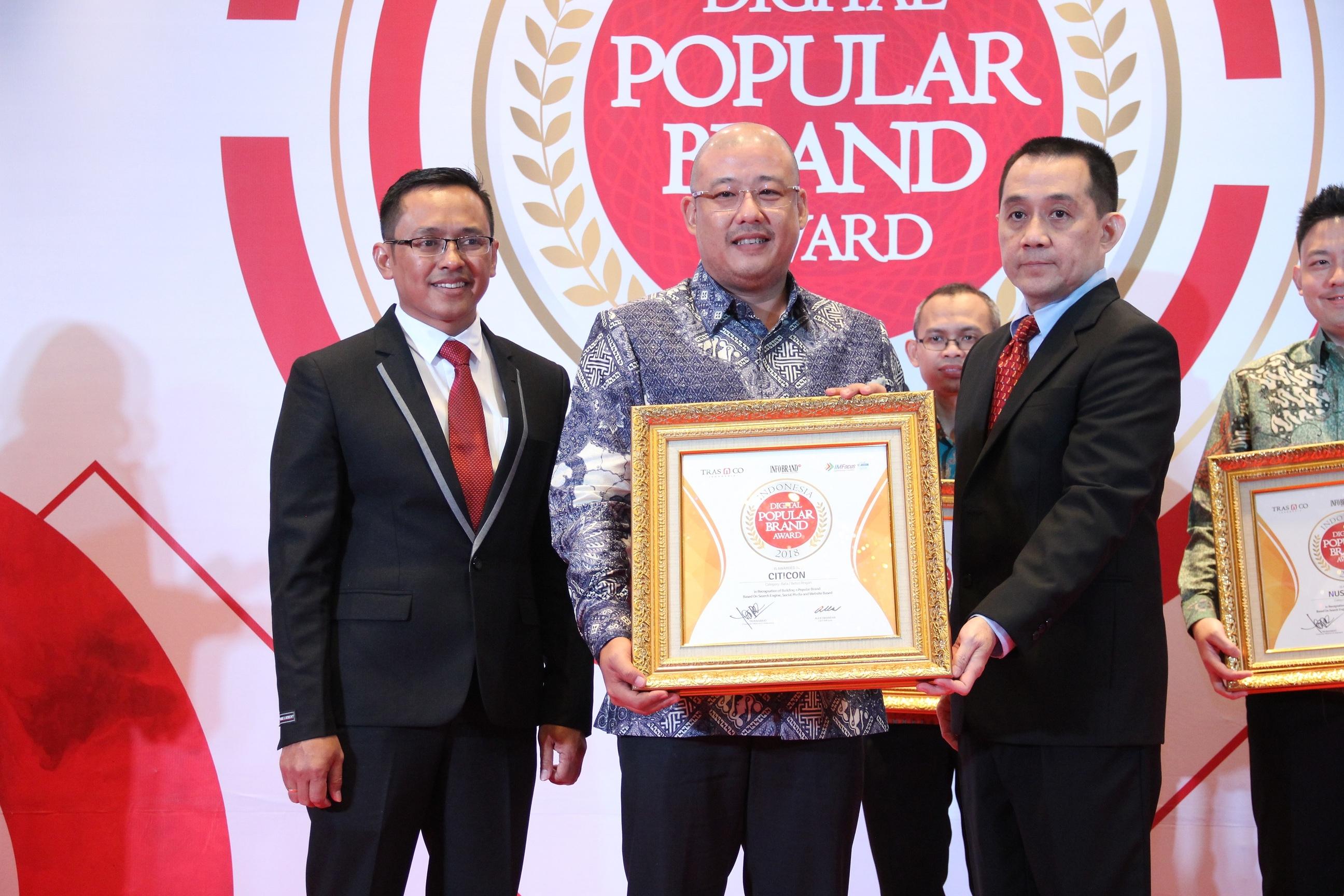 Citicon, Merek Material Bangunan Ramah Lingkungan Sabet Penghargaan Indonesia Digital Popular Brand Award 2018