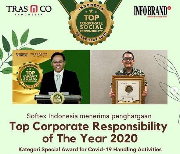 Aktif Perangi COVID-19, Softex Raih Indonesia Top Corporate Social Responsibility of The Year 2020