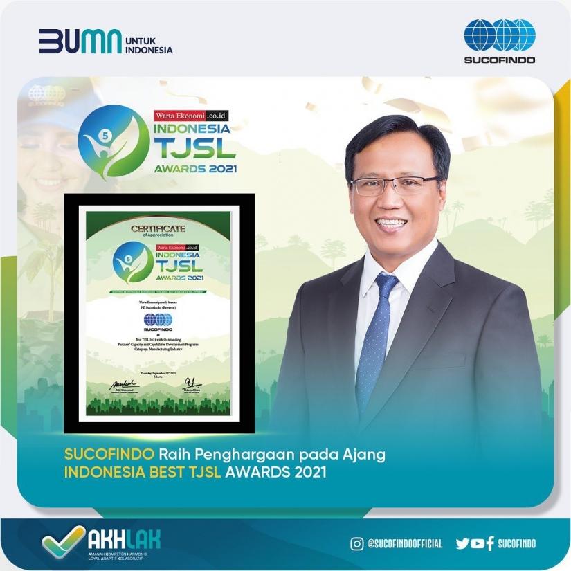 Sucofindo Raih Penghargaan di Ajang Indonesia Best TJSL Awards 2021