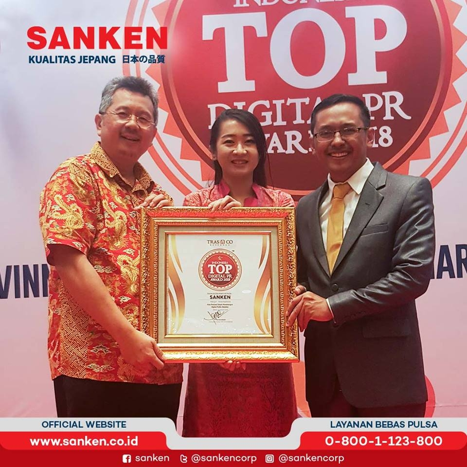 Sanken Saat Menerima Penghargaan Indonesia TOP Digital PR Award 2018