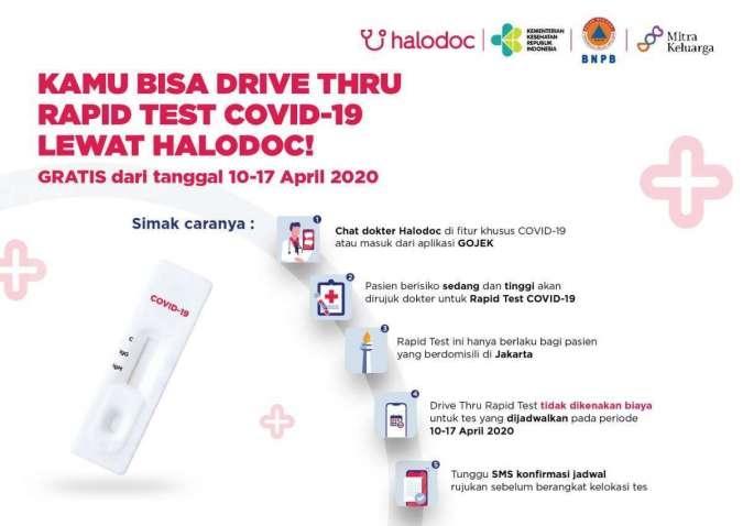 Halodoc dan Gojek Sediakan Rapid Test Covid-19 Drive Thru Gratis Bersama RS Mitra Keluarga