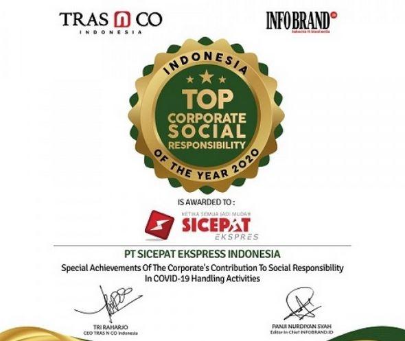 Peduli Dampak COVID-19, SiCepat Diganjar Indonesia Top Corporate Social Responsibility of the year 2020