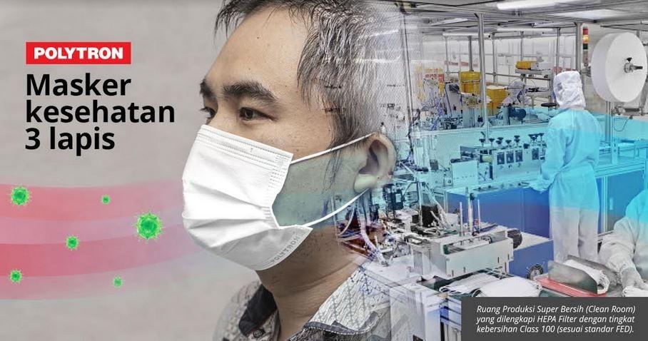 Dukung New Normal, Polytron Produksi Masker Kesehatan Tiga Lapis